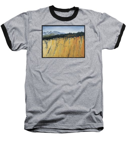 Of Bluff And Mountain Baseball T-Shirt by Carolyn Doe