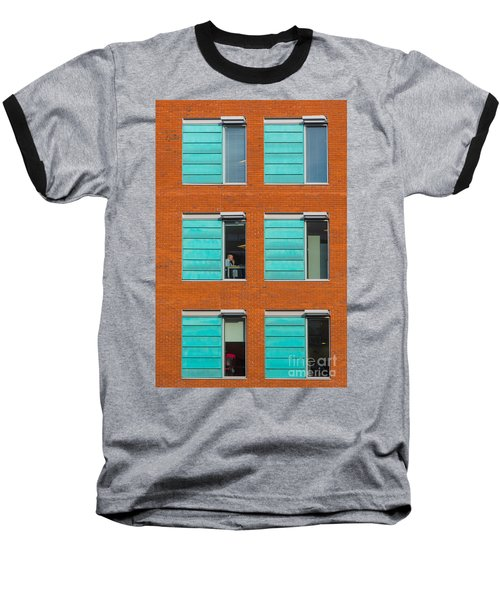 Office Windows Baseball T-Shirt by Colin Rayner
