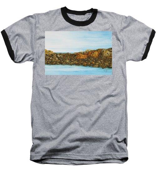Ogunquit Maine Sail And Rocks Baseball T-Shirt