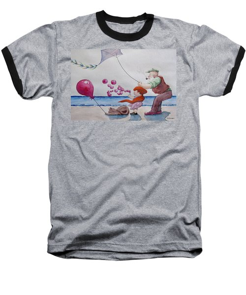 Baseball T-Shirt featuring the painting Oh My Bubbles by Geni Gorani