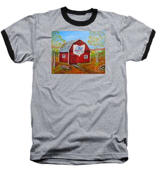 Baseball T-Shirt featuring the painting Ohio Bicentennial Barns 2 by Melvin Turner
