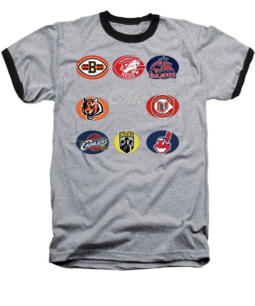 Ohio Professional Sport Teams Collage Baseball T-Shirt