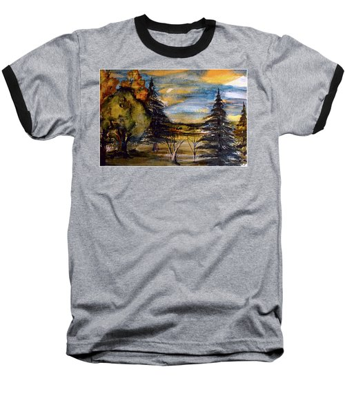 Baseball T-Shirt featuring the painting Ohio Sunset by Mindy Newman