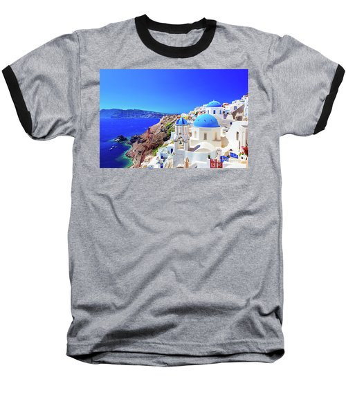 Oia Town On Santorini Island, Greece. Caldera On Aegean Sea. Baseball T-Shirt