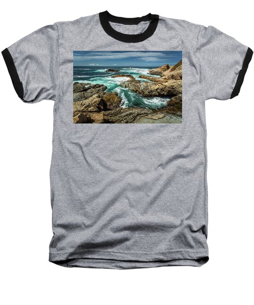 Oil Paint Of Rocks And Waves Baseball T-Shirt