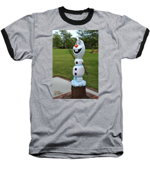 Olaf Wood Carving Baseball T-Shirt by Doug Kreuger