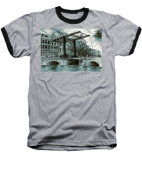 Old Amsterdam Bridge In Dutch Blue Water Colors Baseball T-Shirt