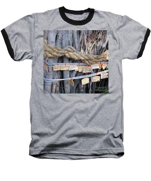Old Banyan Wishing Tree Baseball T-Shirt by Yali Shi