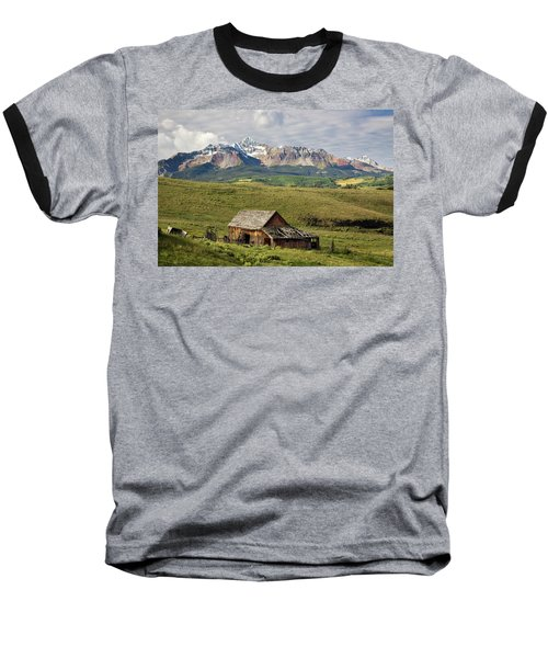 Old Barn And Wilson Peak Horizontal Baseball T-Shirt
