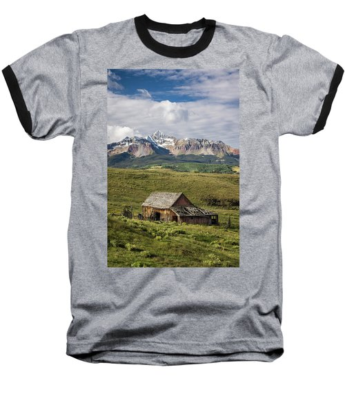 Old Barn And Wilson Peak Vertical Baseball T-Shirt