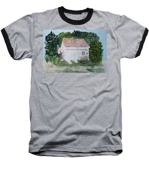 Baseball T-Shirt featuring the painting Old Barn In Eastham Ma by Donna Walsh
