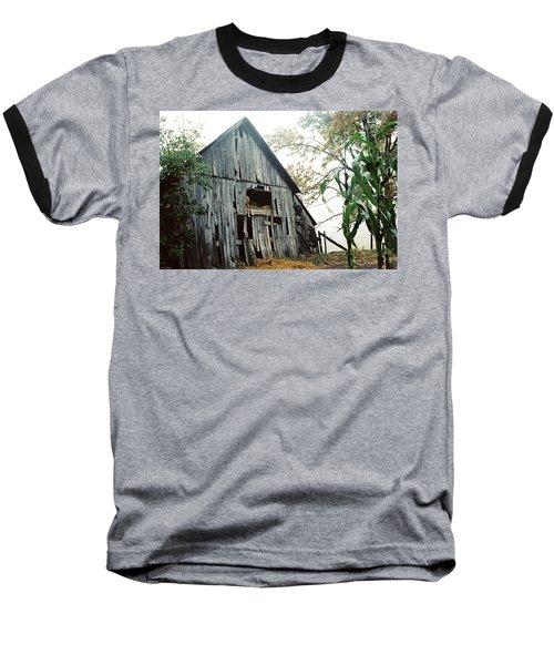 Old Barn In The Morning Mist Baseball T-Shirt