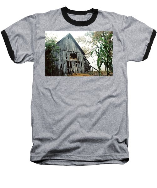 Old Barn In The Morning Mist Baseball T-Shirt