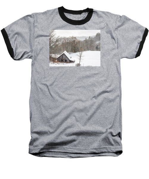 Old Barn On A Winter Day Wide View Baseball T-Shirt by Tim Kirchoff
