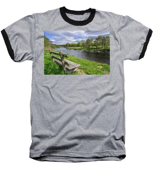 Old Bench Along Spey River, Scotland Baseball T-Shirt