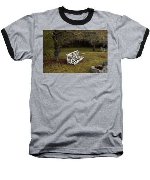Old Benches Baseball T-Shirt by Alex Galkin