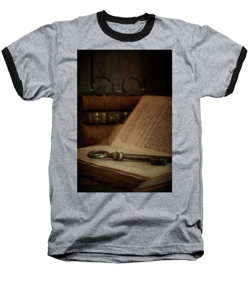 Old Book With Key Baseball T-Shirt
