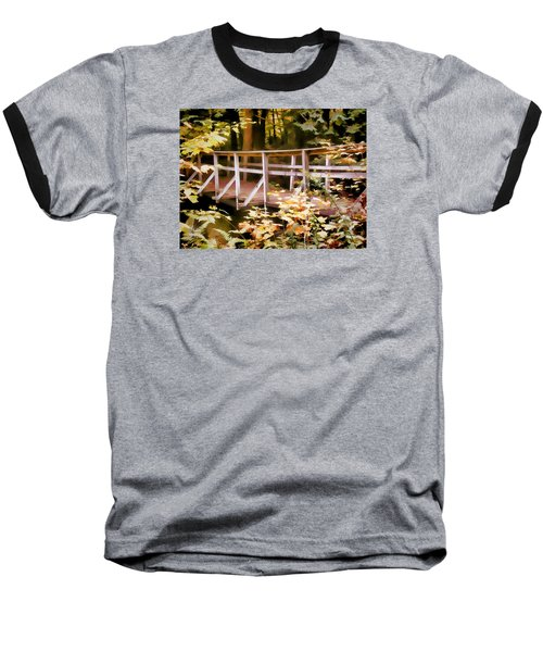 Old Bridge In The Woods In Color Baseball T-Shirt by Rena Trepanier