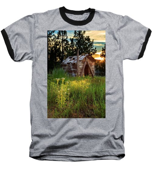 Old Cabin At Sunset Baseball T-Shirt