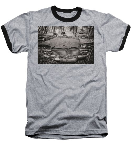 Old Car City In Black And White Baseball T-Shirt