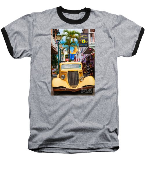 Old Car On Old Street Baseball T-Shirt