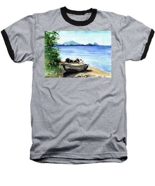 Baseball T-Shirt featuring the painting Old Carved Boat At Lake Malawi by Dora Hathazi Mendes