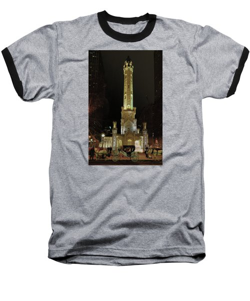 Old Chicago Water Tower Baseball T-Shirt by Alan Toepfer