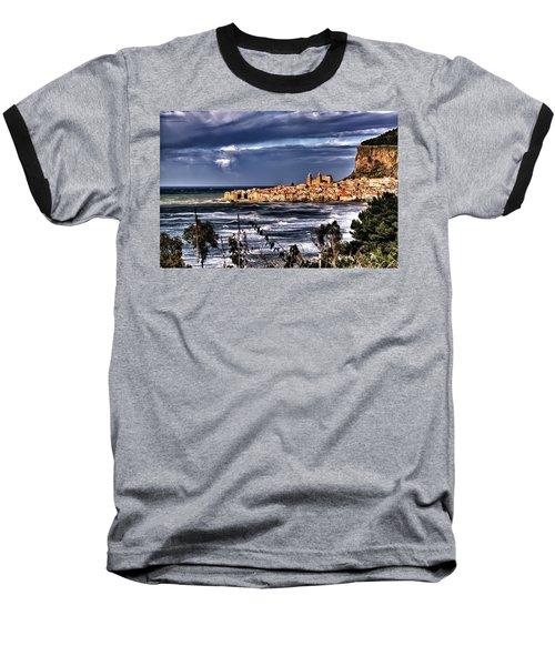 Old Coastal City  Baseball T-Shirt by Patrick Boening