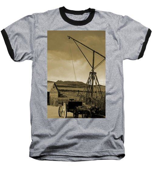 Old Crane And Shed Utah Countryside In Sepia Baseball T-Shirt
