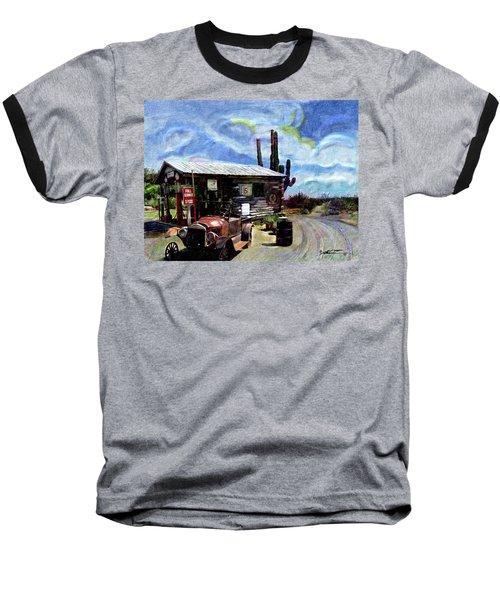 Old Desert Gas Station Baseball T-Shirt