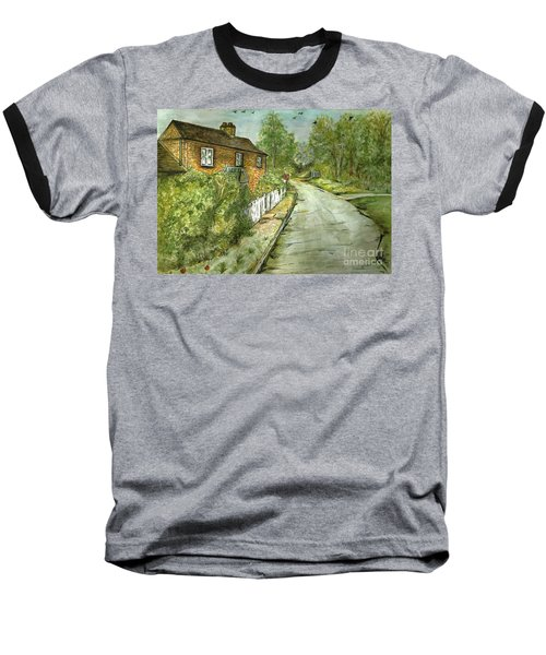 Baseball T-Shirt featuring the painting Old English Cottage by Teresa White