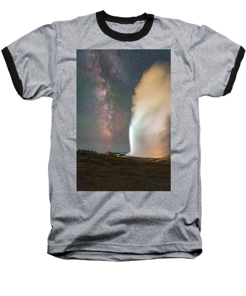 Old Faithful Erupts At Night Baseball T-Shirt