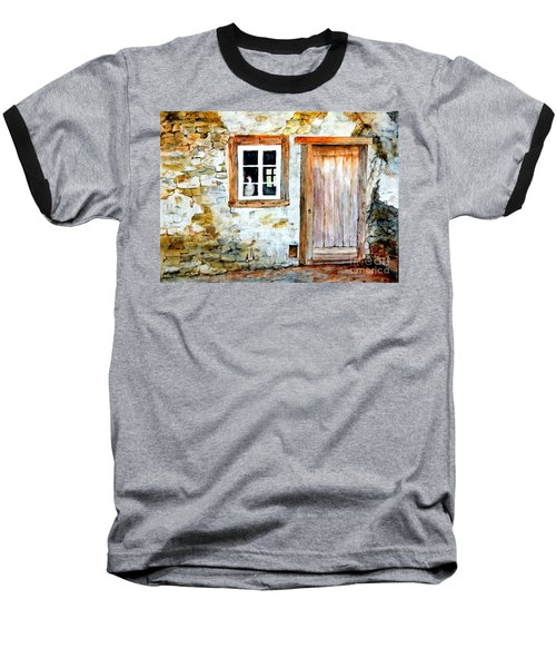 Baseball T-Shirt featuring the painting Old Farm House by Sher Nasser