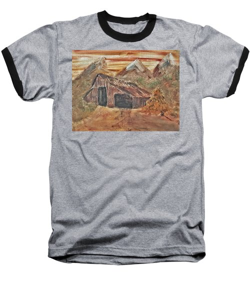Old Farmhouse With Hay Stack In A Snow Capped Mountain Range With Tractor Tracks Gouged In The Soft  Baseball T-Shirt by MendyZ