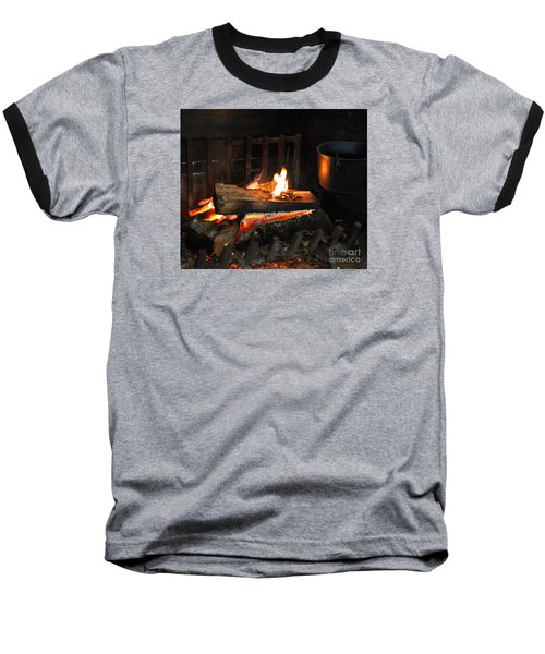 Old Fashioned Fireplace Baseball T-Shirt