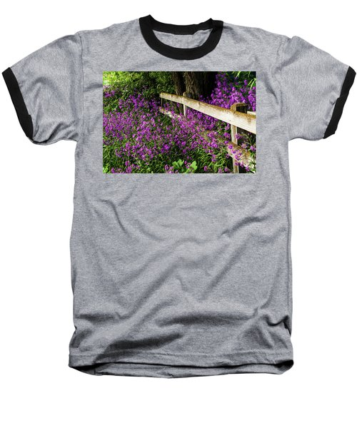 Old Fence And Purple Flowers Baseball T-Shirt