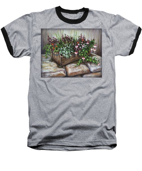 Baseball T-Shirt featuring the painting Old Flower Box by Kim Lockman