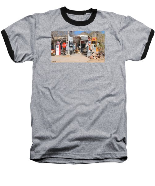Old Gas Station, Historic Route 66 Baseball T-Shirt