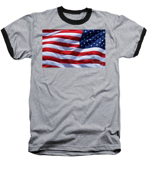 Baseball T-Shirt featuring the photograph Stitches Old Glory American Flag Art by Reid Callaway