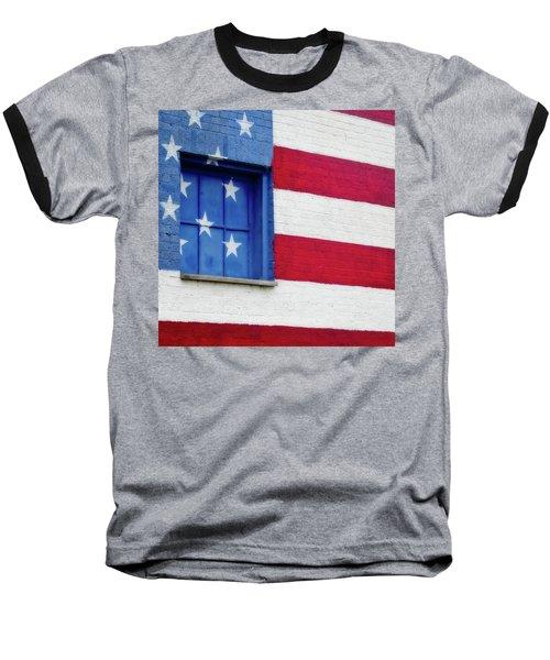 Old Glory, American Flag Mural, Street Art Baseball T-Shirt