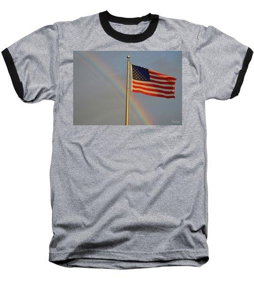 Old Glory And Rainbow Baseball T-Shirt