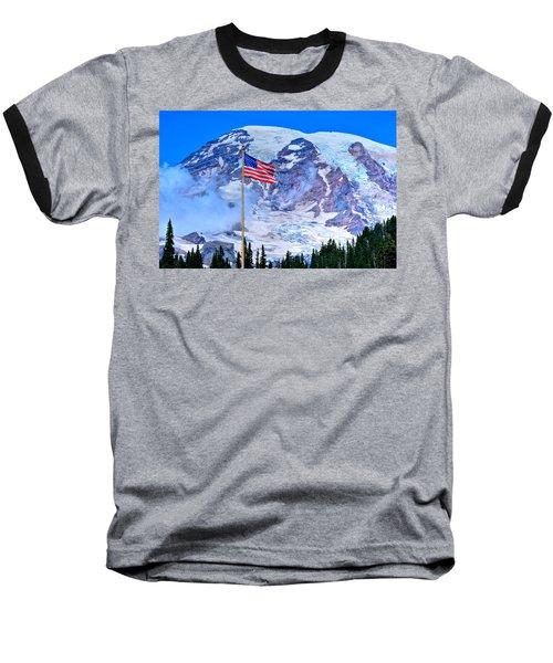 Old Glory At Mt. Rainier Baseball T-Shirt