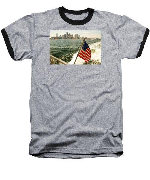 Baseball T-Shirt featuring the photograph Old Glory On Boston Harbor by James Kirkikis