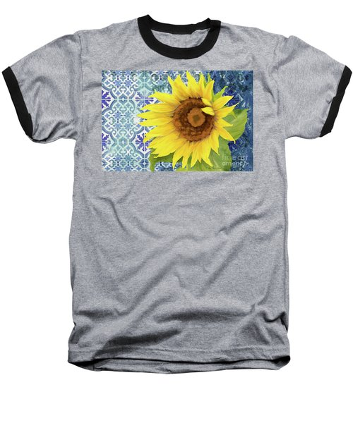 Baseball T-Shirt featuring the painting Old Havana Sunflower - Cobalt Blue Tile Painted Over Wood by Audrey Jeanne Roberts