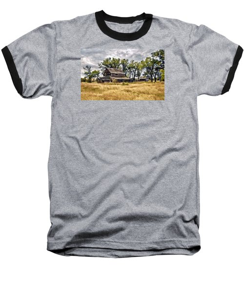 Baseball T-Shirt featuring the digital art Old House And Barn by James Steele