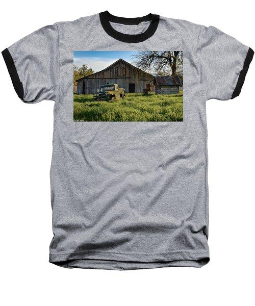 Old Jeep, Old Barn Baseball T-Shirt