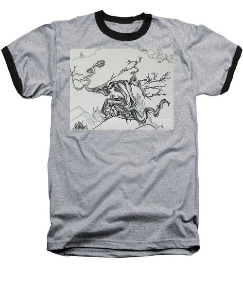 Old Juniper Dancing With The Wind -- Field Sketch Baseball T-Shirt by Dawn Senior-Trask