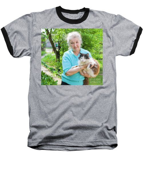 Old Lady With Cat Baseball T-Shirt