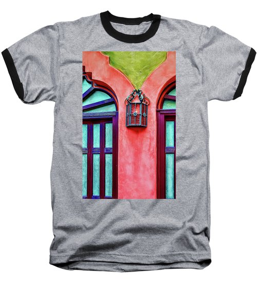 Baseball T-Shirt featuring the photograph Old Lamp Between Windows by Gary Slawsky