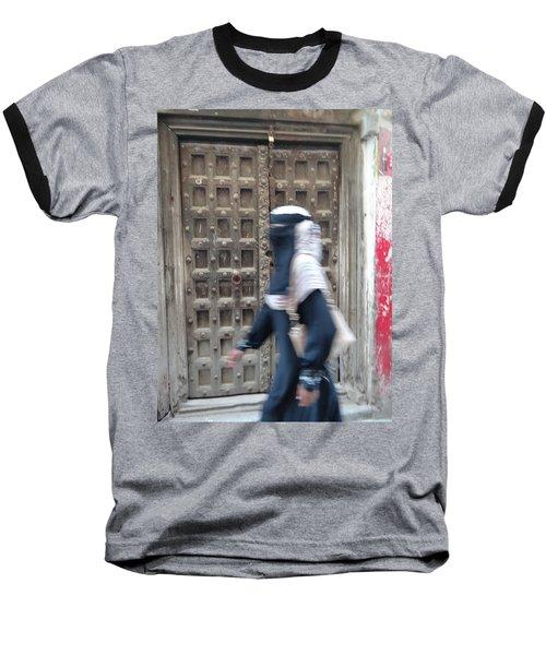 Old Lamu Town Muslim Woman Walking Baseball T-Shirt